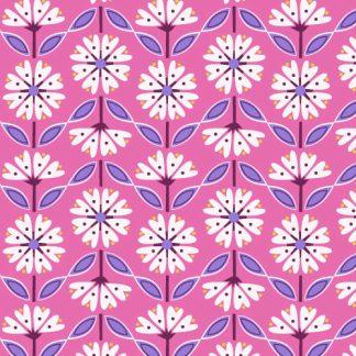 Dashwood studio feuillage et fleurs sur fond couleur rose cyclamen