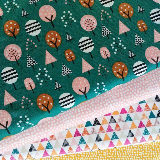 tissu imprimé dashwood studio geo forest flurry blush flurry gold loisirs créatifs couture patchwork