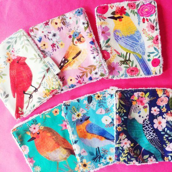 lingettes lavables réutilisables zero déchet, éponge bambou Oeko-Tex coton imprimé Birdie Blend Fabrics