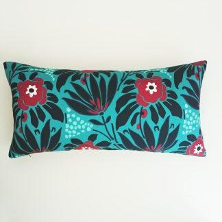 coussin createur Ln Fabrics haut de gamme tissu à fleurs Kenzo bleu canard