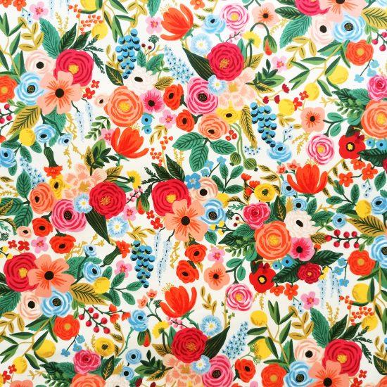 tissu coton imprimé à fleurs multicolores Rifle Papaer Co pour Cotton and Steel couture creative et diy