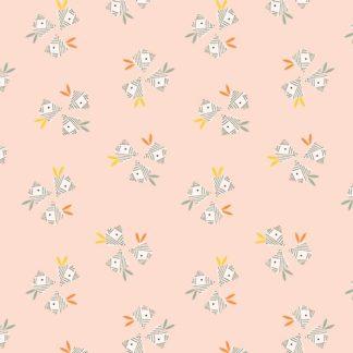 coton imprimé Dashwood Studio Emi and the Bird oiseaux sur fond rose poudré