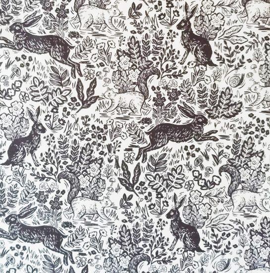 Coton imprimé lapins Rifle Paper Co pour Cotton and Steel, idéal pour la couture, les loisirs créatifs et le patchwork