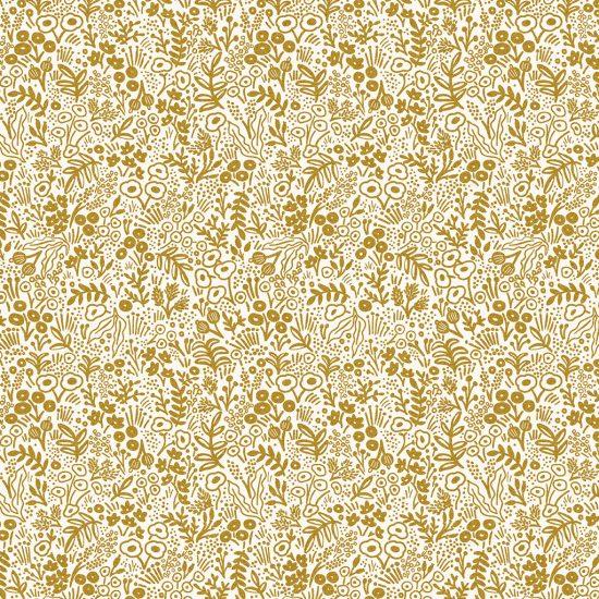 Coton imprimé fleurs dorée comme du liberty Cotton and Steel idéal pour la couture, loisirs créatifs et le patchwork