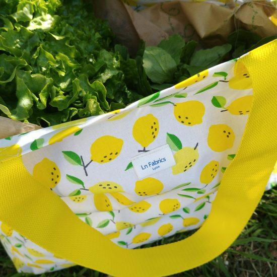Cabas citrons pour aller au marché, à la plage