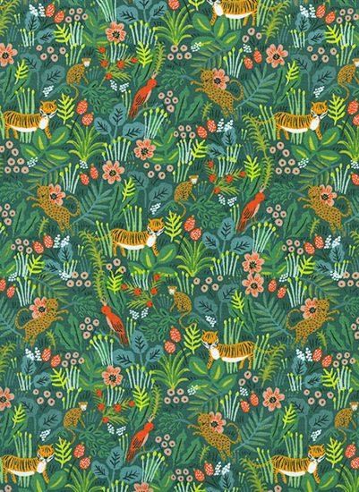 Tissu en coton imprimé jungle léopards et tigres Rifle Paper Co Ménagerie