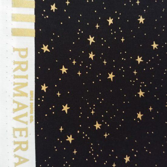 Tissu coton Rifle Paper Co Primavera noir imprimé étoiles dorées