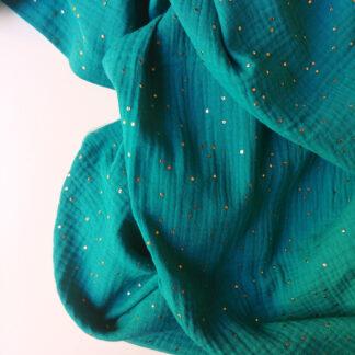 double gaze de coton émeraude imprimée pois dorés certifiée Oeko-Tex idéale pour créer des vêtements et accessoires