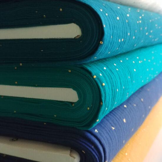 double gaze Oeko-Tex imprimée pois dorés émeraude, bleu canard, bleu indigo
