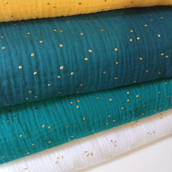 double gaze Oeko-Tex imprimée pois dorés émeraude, bleu canard, bleu indigo, miel