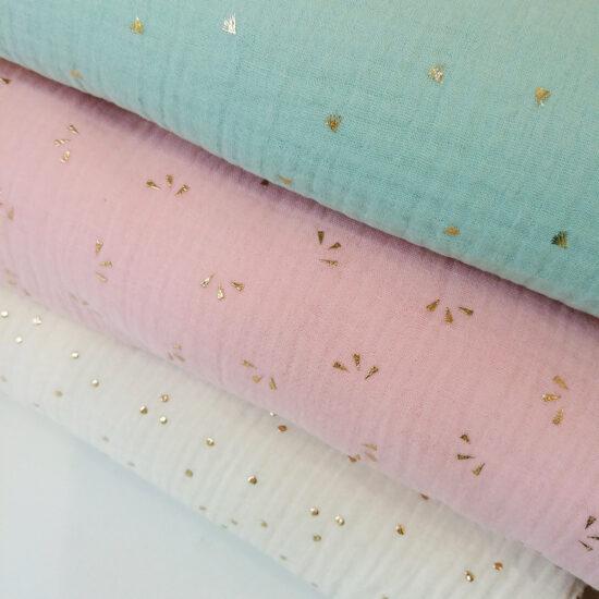 double gaze Oeko-Tex imprimée pois dorés émeraude, bleu canard, bleu indigo, rose pâle, vert menthe, parfait pour la couture créative