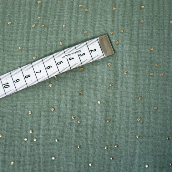 double gaze de coton vert sauge imprimée pois dorés certifiée Oeko-Tex idéale pour la couture créative
