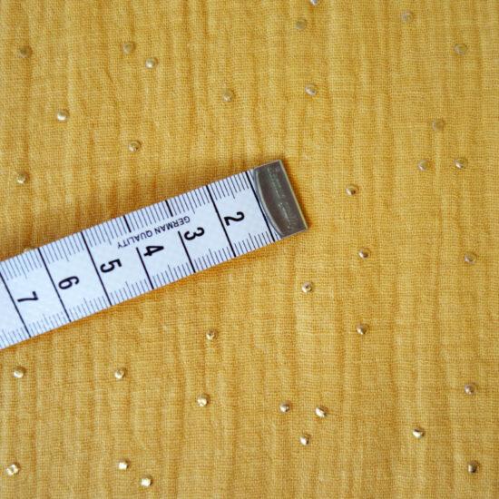 double gaze de coton miel imprimée pois dorés certifiée Oeko-Tex idéale pour créer des vêtements et accessoires enfants