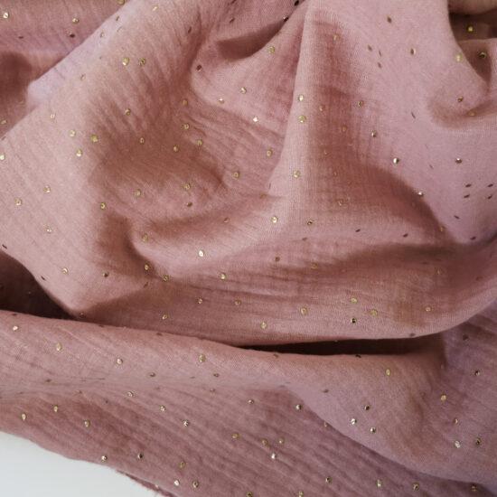 double gaze de coton rose thé imprimée pois dorés certifiée Oeko-Tex idéale pour créer des vêtements et accessoires bébé