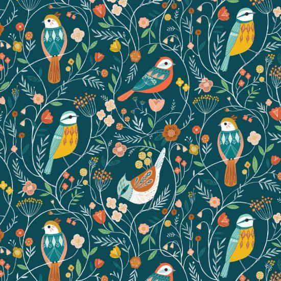 tissu coton imprimé Aviary chez Dashwood Studio évoque les oiseaux, les papillons, des fleurs délicates, parfait pour la couture créative