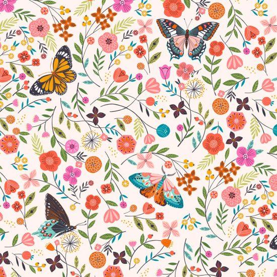 tissu coton imprimé papillons et fleurs colorés Aviary chez Dashwood Studio, parfait pour la couture et les loisirs créatifs