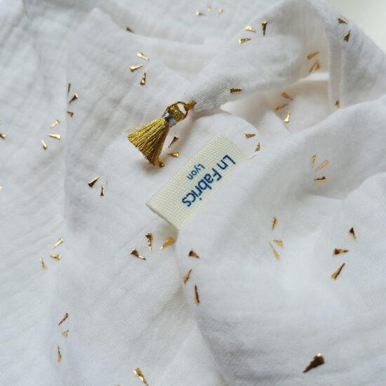 chèche en double gaze de coton imprimé blanc étincelles dorées
