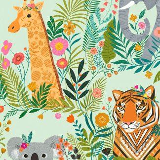 tissu coton imprimé Our Planet évoque les animaux en voie de disparition éléphant, tigre, girafe chez Dashwood studio, idéal pour la couture enfant et les loisirs créatifs