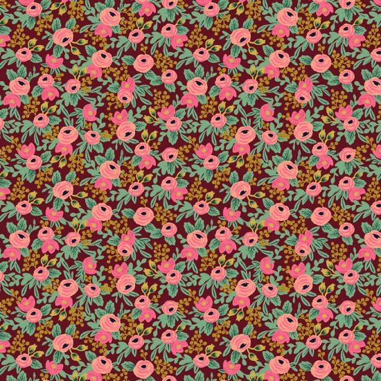 Tissu coton imprimé rifle paper co fond bordeaux fleurs or et rose